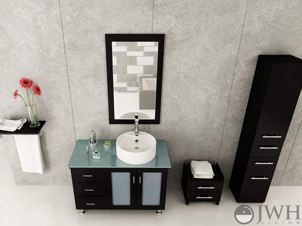 """39"""" Lune Vanity With Green Glass Top - Espresso"""