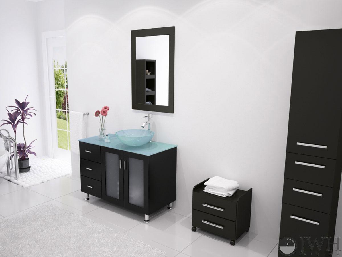 """39"""" Lune Single Vessel Sink Vanity - Glass Vessel"""