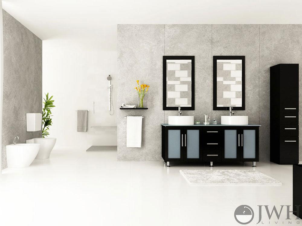 jwh living 59 quot  lune double sink vanity glass top Antique Bathroom Vanities Bathroom Vanities with Tops