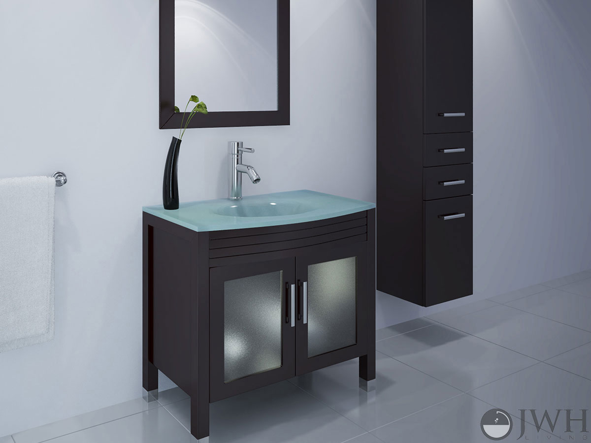 "JWH Living :: 35.5"" Ludwig Single Bath Vanity - Glass Top"