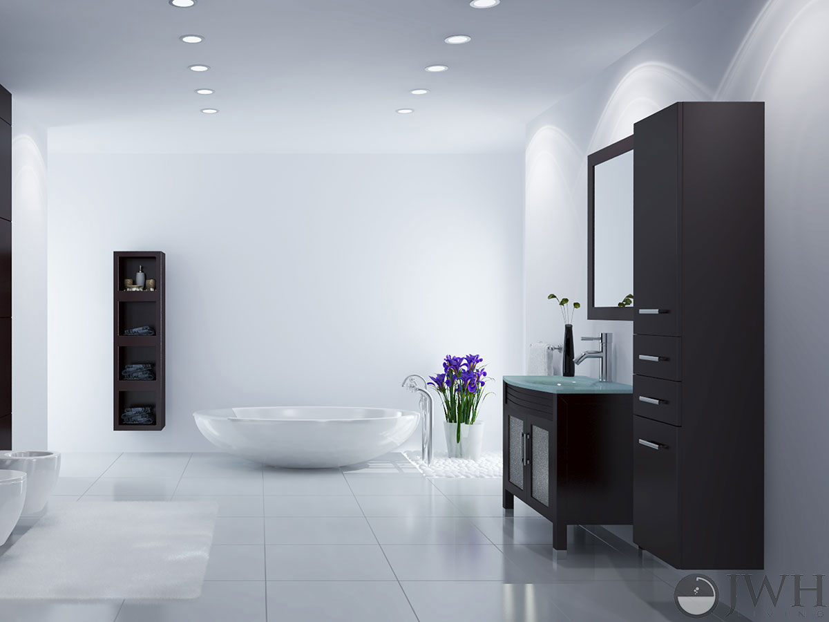 """Bathroom Vanity Glass Top jwh living :: 35.5"""" ludwig single bath vanity - glass top"""