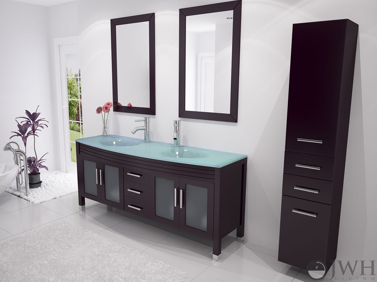 Jwh Living 63 Quot Grand Regent Double Sink Vanity Glass Top