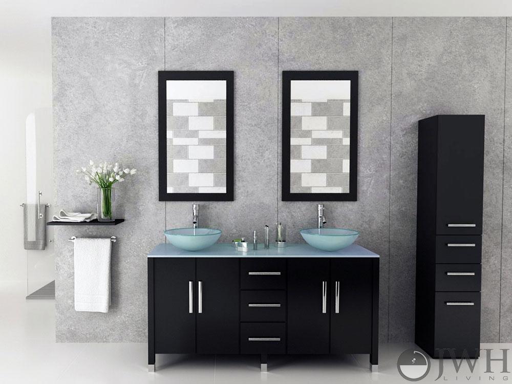 Jwh Living 59 Quot Sirius Double Vessel Sink Vanity Glass Top