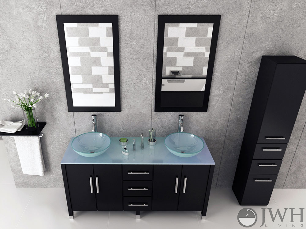 "Bathroom Sink Faucets >> JWH Living :: 59"" Sirius Double Vessel Sink Vanity - Glass Top"