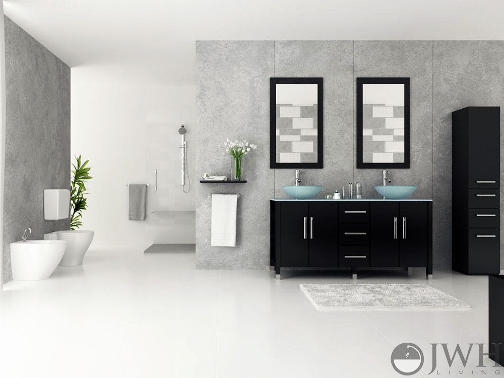 jwh living 59 quot  sirius double vessel sink vanity glass top Small Full Bathroom Ideas Small Full Bathroom Ideas