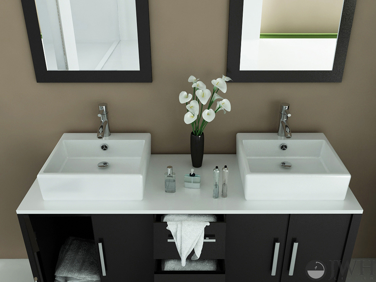 Bathroom Vanity With Sink Top.  59 Sirius Double Vessel Sink Vanity Stone Top Dimensions JWH Living quot