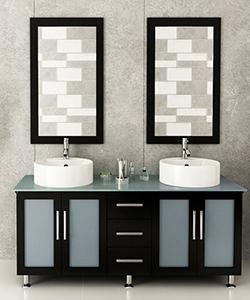 """59"""" Lune Double Sink Vanity - Glass Top"""
