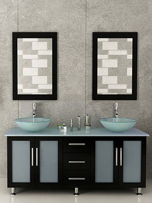 59 Lune Double Vessel Sink Vanity Gl