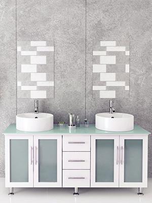 "59"" Lune Double Vessel Sink Vanity - White/Glass Top"