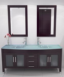 """63"""" Grand Regent Double Sink Vanity - Glass Top"""
