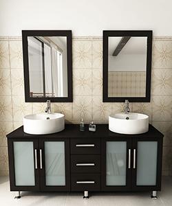 "59"" Lune Double Sink Vanity - Wood Top"