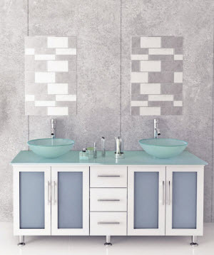 """59"""" Lune Double Glass Vessel Vanity - White/Glass Top"""