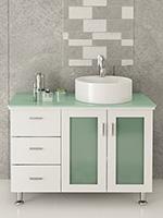 "39"" Lune Single Vessel Sink Vanity - White/Glass Top"